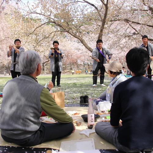 弘前城 弘前公園で行われた手ぶらで観桜会の様子