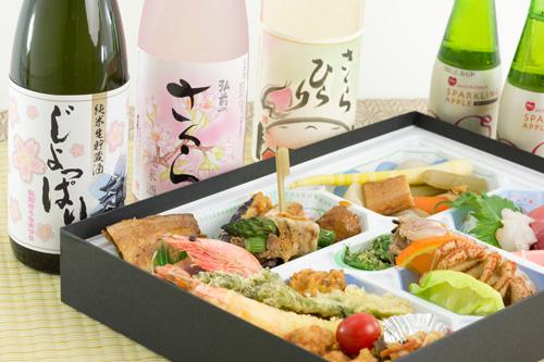 手ぶらで観桜会のお弁当(通常コース例)